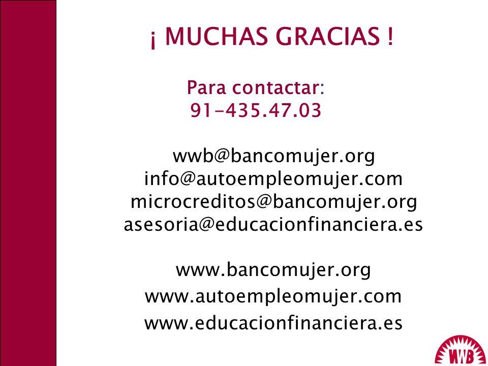 ¡ MUCHAS GRACIAS ! Para contactar: 91-435.47.03 wwb@bancomujer.org