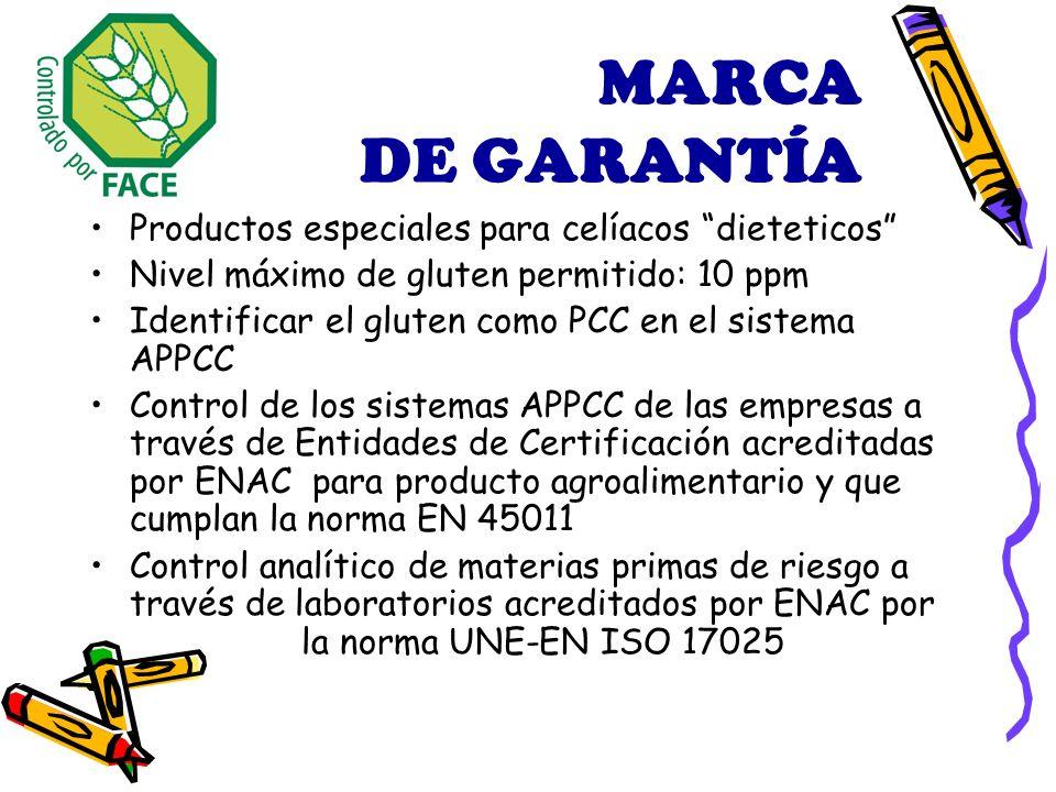 MARCA DE GARANTÍA Productos especiales para celíacos dieteticos