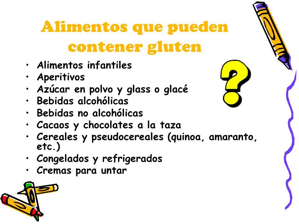 Alimentos que pueden contener gluten