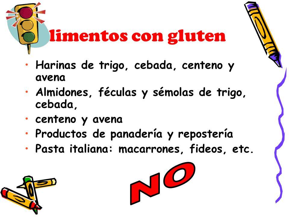 Alimentos con gluten NO Harinas de trigo, cebada, centeno y avena