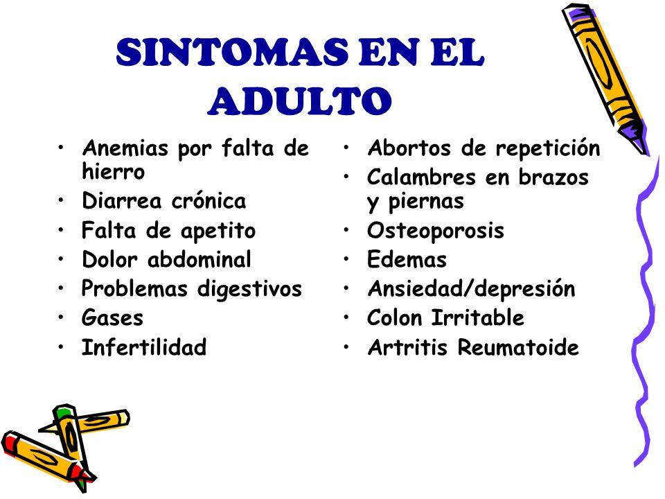SINTOMAS EN EL ADULTO Anemias por falta de hierro Diarrea crónica