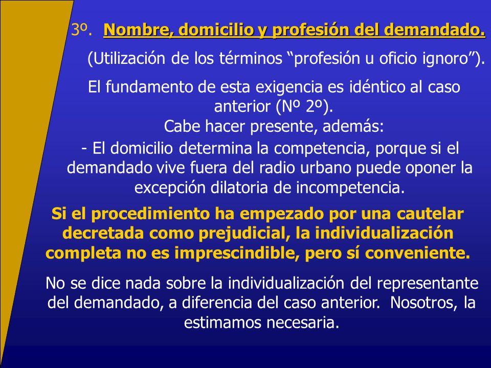 3º. Nombre, domicilio y profesión del demandado.