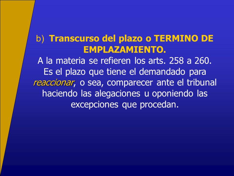 b) Transcurso del plazo o TERMINO DE EMPLAZAMIENTO.