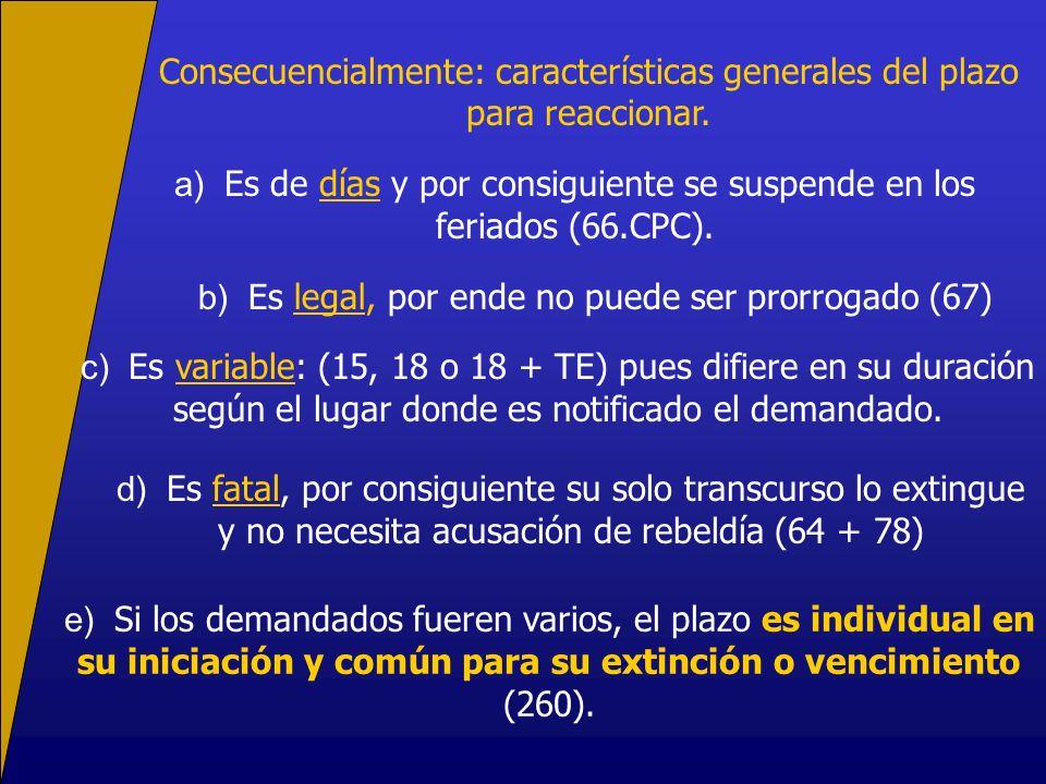 a) Es de días y por consiguiente se suspende en los feriados (66.CPC).