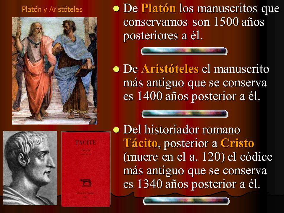 De Platón los manuscritos que conservamos son 1500 años posteriores a él.