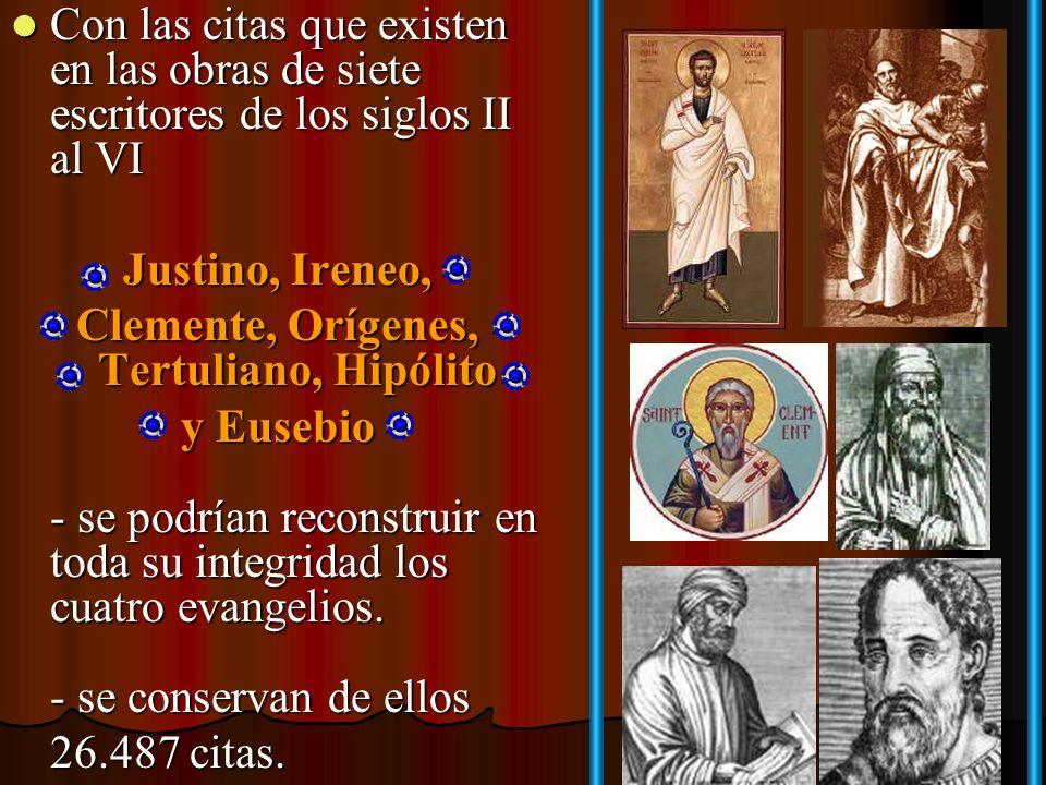 Clemente, Orígenes, Tertuliano, Hipólito