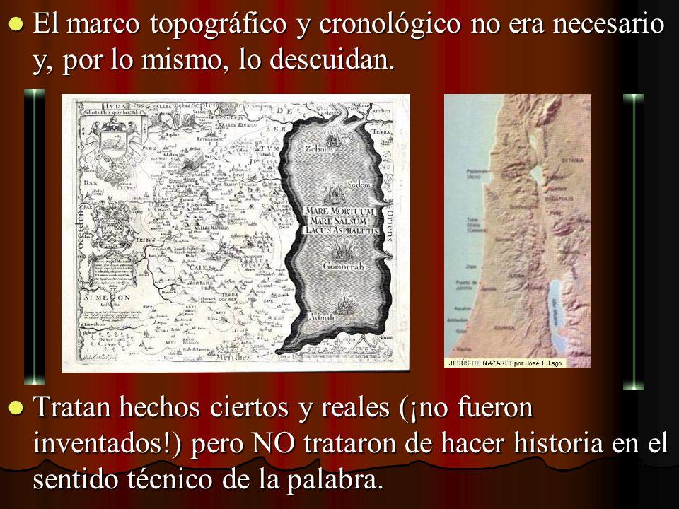 El marco topográfico y cronológico no era necesario y, por lo mismo, lo descuidan.