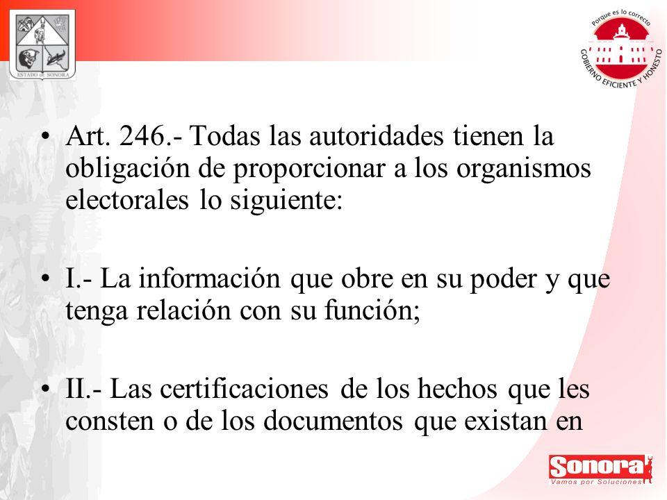 Art. 246.- Todas las autoridades tienen la obligación de proporcionar a los organismos electorales lo siguiente: