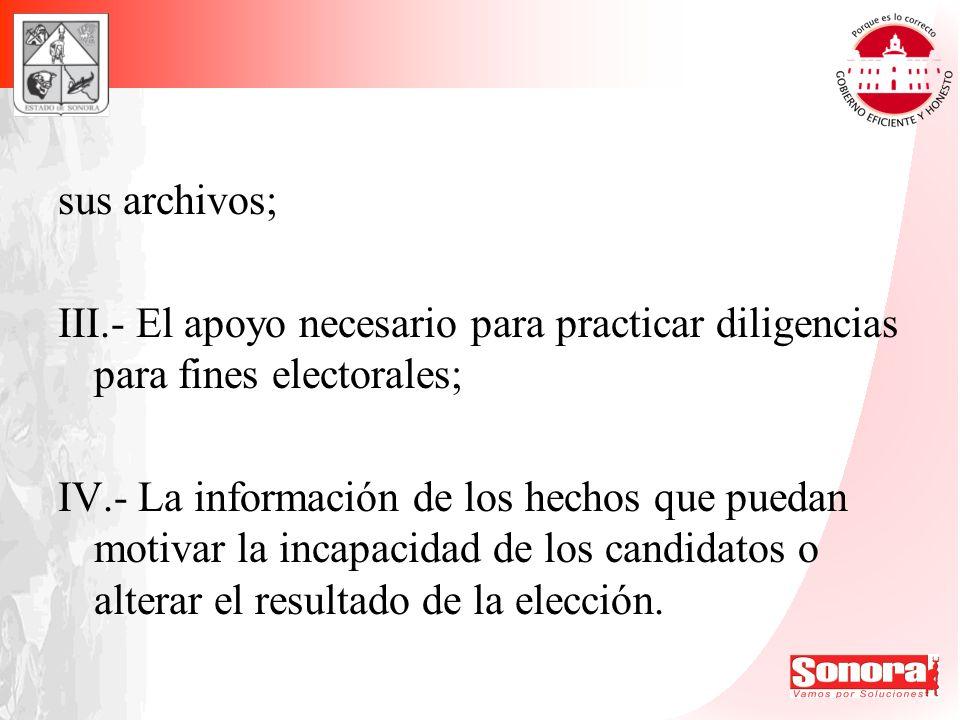sus archivos; III.- El apoyo necesario para practicar diligencias para fines electorales;