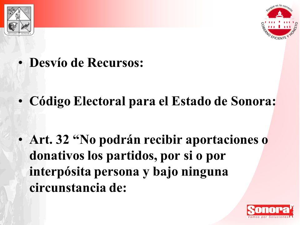 Desvío de Recursos:Código Electoral para el Estado de Sonora: