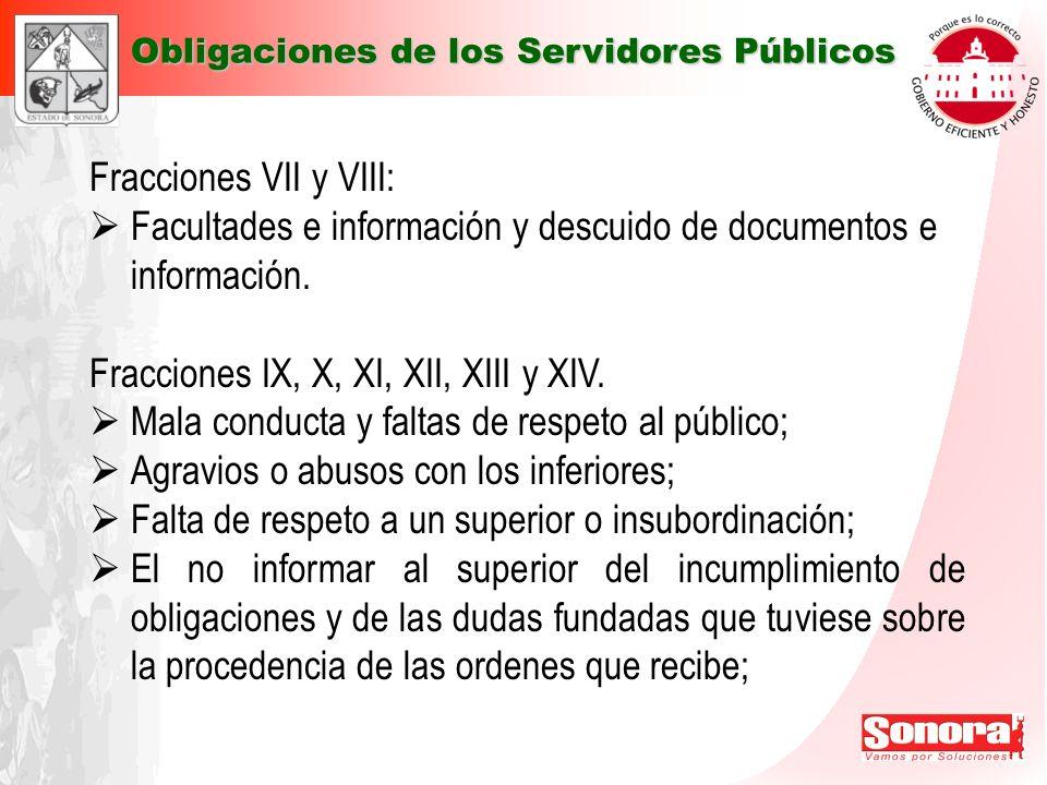 Facultades e información y descuido de documentos e información.