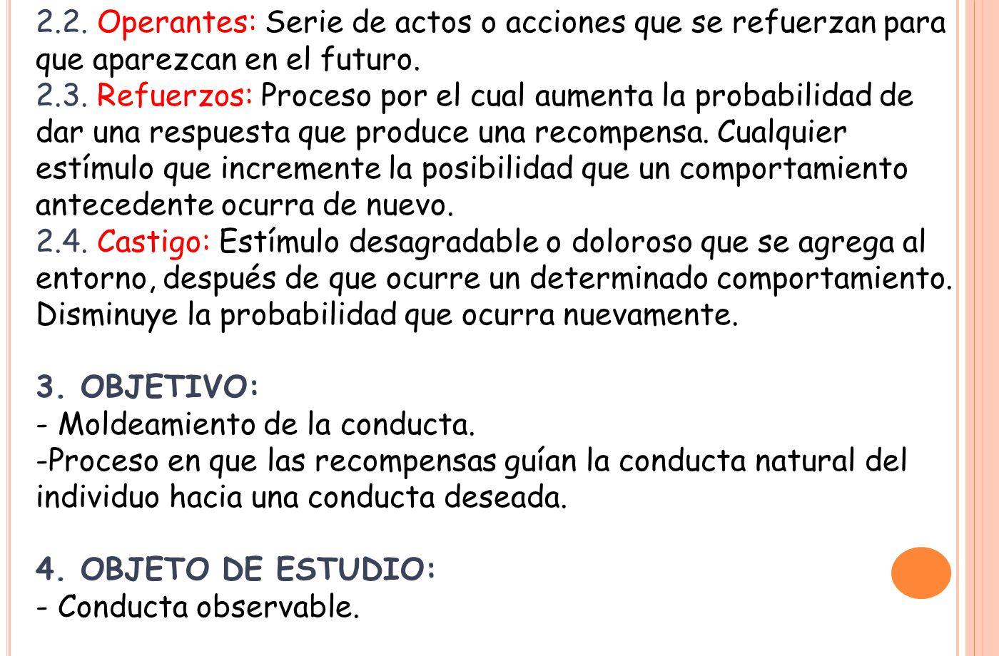 2.2. Operantes: Serie de actos o acciones que se refuerzan para que aparezcan en el futuro.