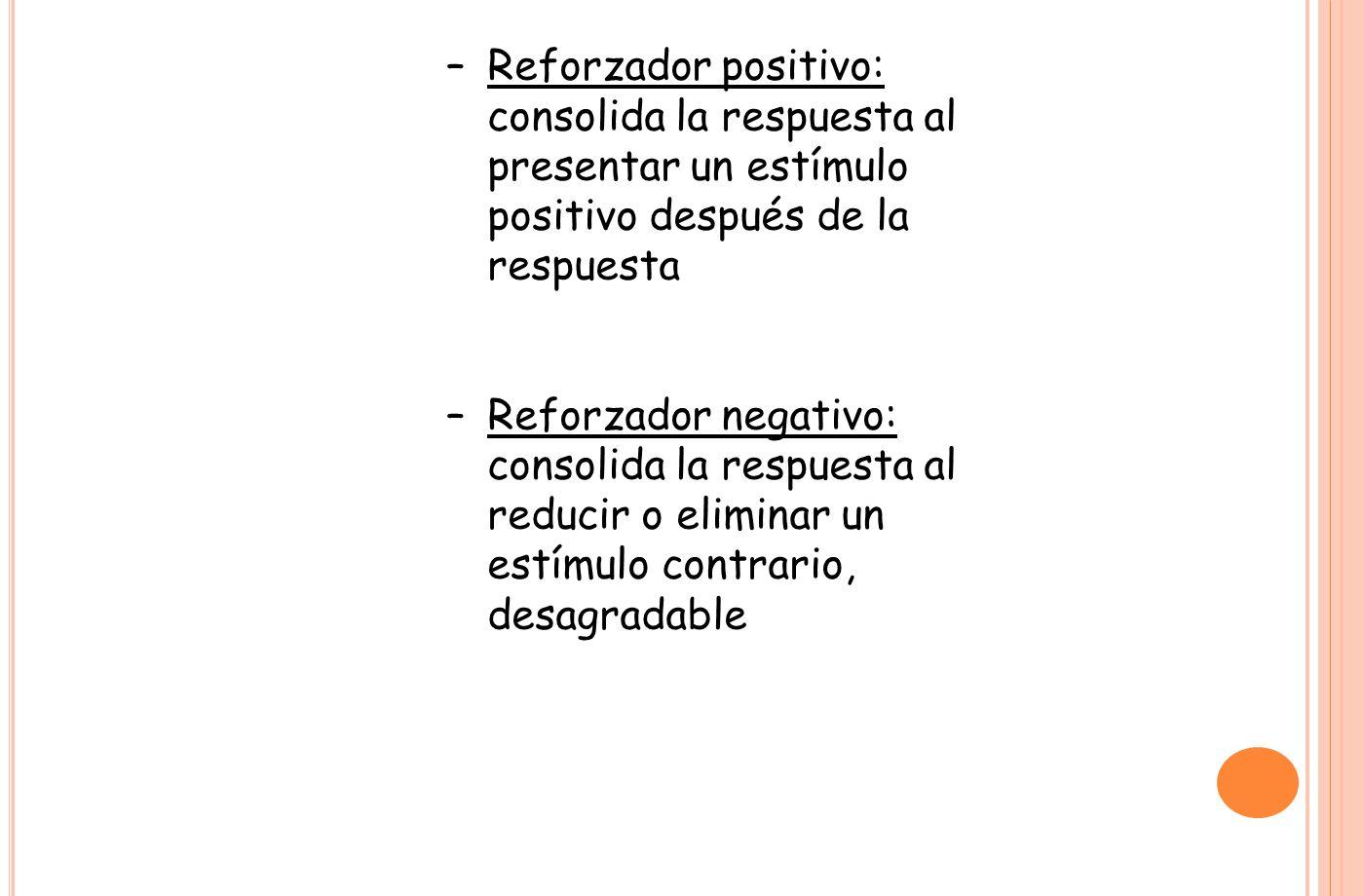 Reforzador positivo: consolida la respuesta al presentar un estímulo positivo después de la respuesta