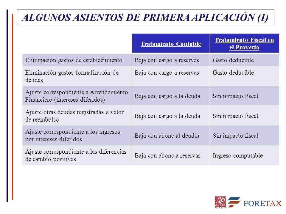 ALGUNOS ASIENTOS DE PRIMERA APLICACIÓN (I)