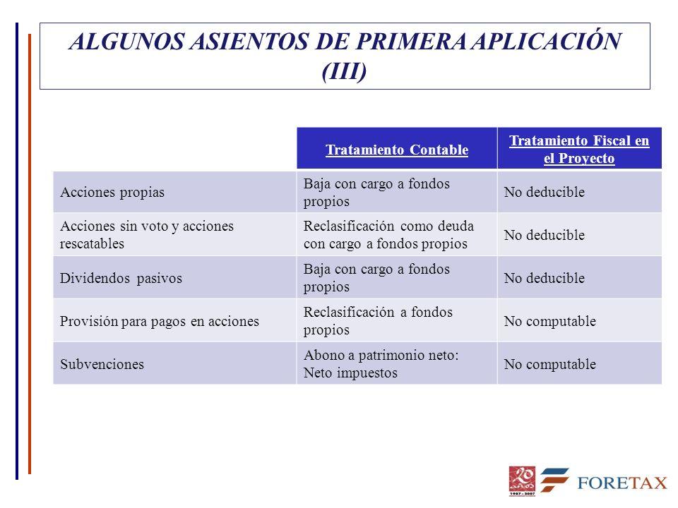 ALGUNOS ASIENTOS DE PRIMERA APLICACIÓN (III)