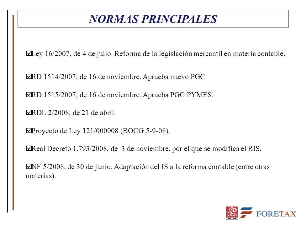 NORMAS PRINCIPALES Ley 16/2007, de 4 de julio. Reforma de la legislación mercantil en materia contable.