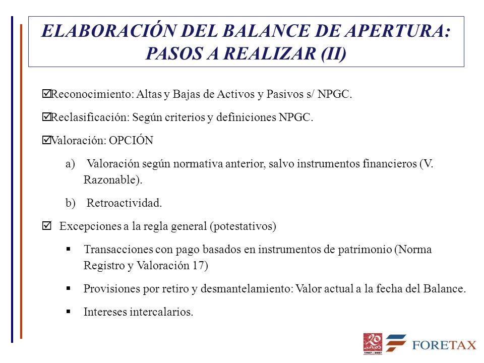 ELABORACIÓN DEL BALANCE DE APERTURA: PASOS A REALIZAR (II)
