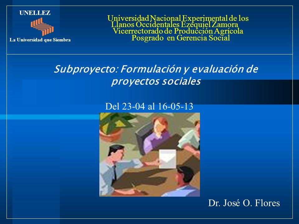 Subproyecto: Formulación y evaluación de proyectos sociales