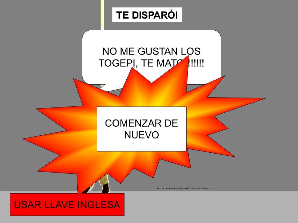 TE DISPARÓ! NO ME GUSTAN LOS TOGEPI, TE MATO!!!!!!! COMENZAR DE NUEVO