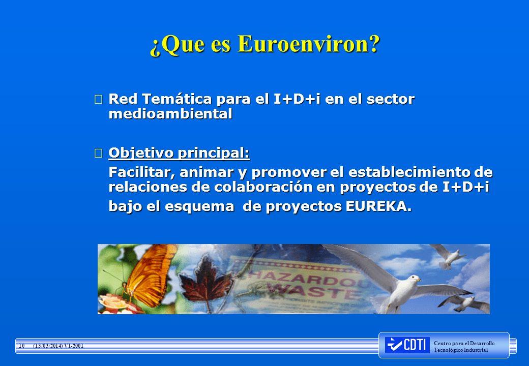¿Que es Euroenviron Red Temática para el I+D+i en el sector medioambiental. Objetivo principal:
