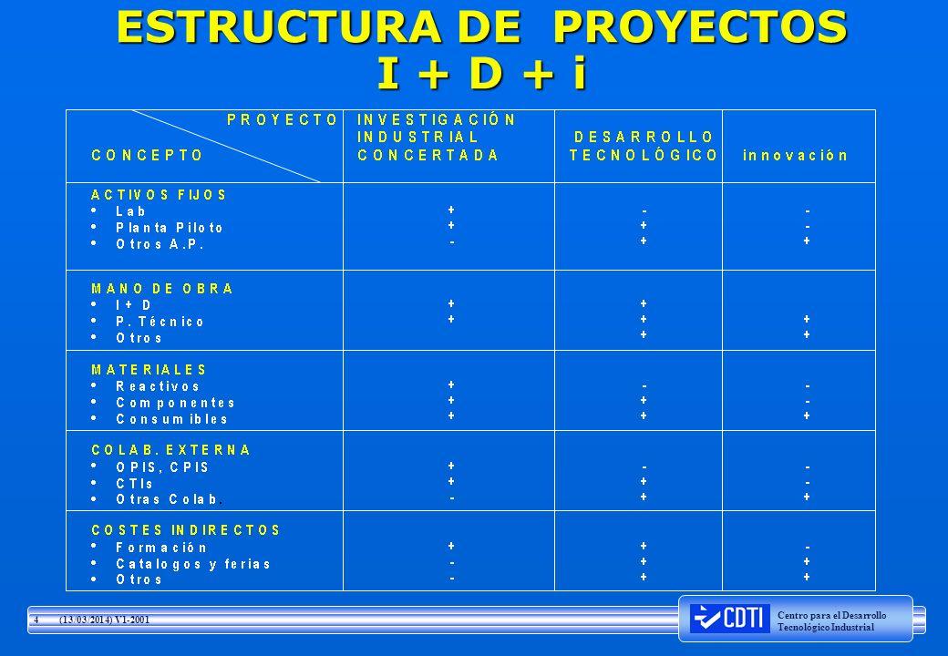 ESTRUCTURA DE PROYECTOS I + D + i