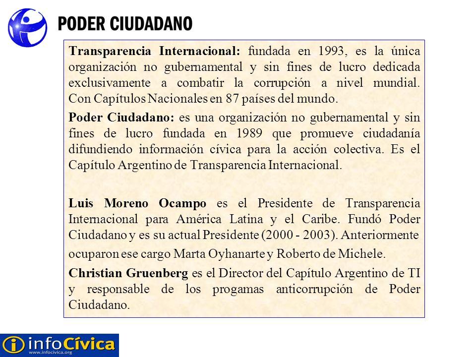 Transparencia Internacional: fundada en 1993, es la única organización no gubernamental y sin fines de lucro dedicada exclusivamente a combatir la corrupción a nivel mundial. Con Capítulos Nacionales en 87 países del mundo.