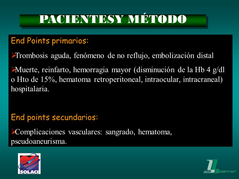 PACIENTESY MÉTODO End Points primarios: