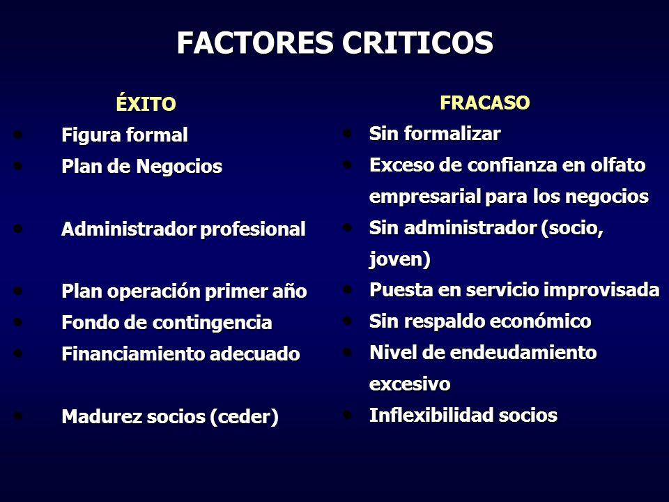 FACTORES CRITICOS ÉXITO FRACASO Figura formal Sin formalizar