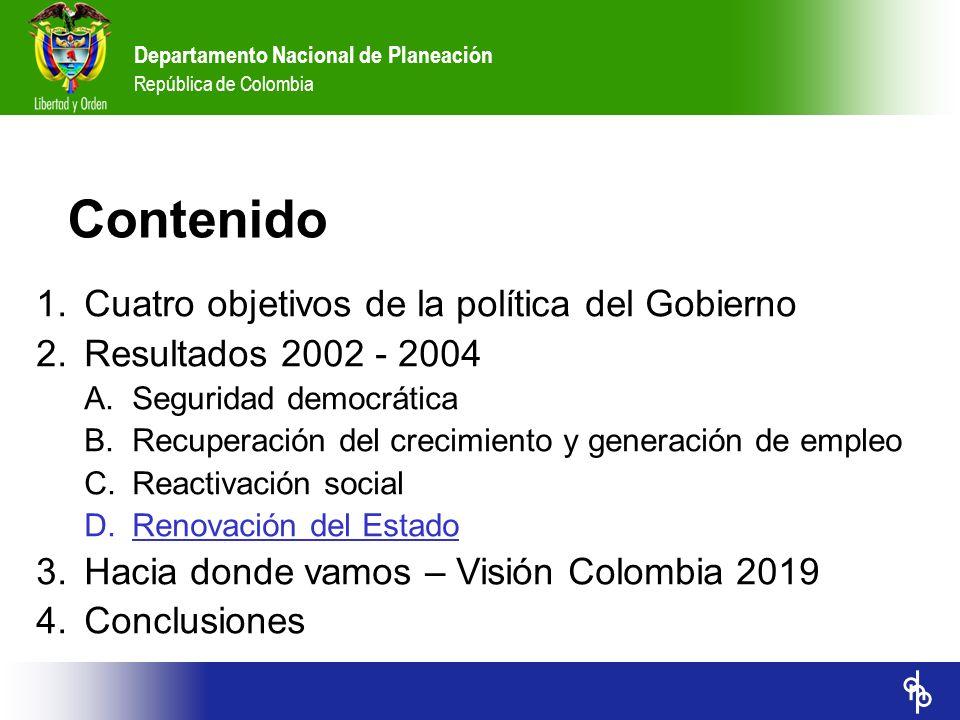 Contenido Cuatro objetivos de la política del Gobierno