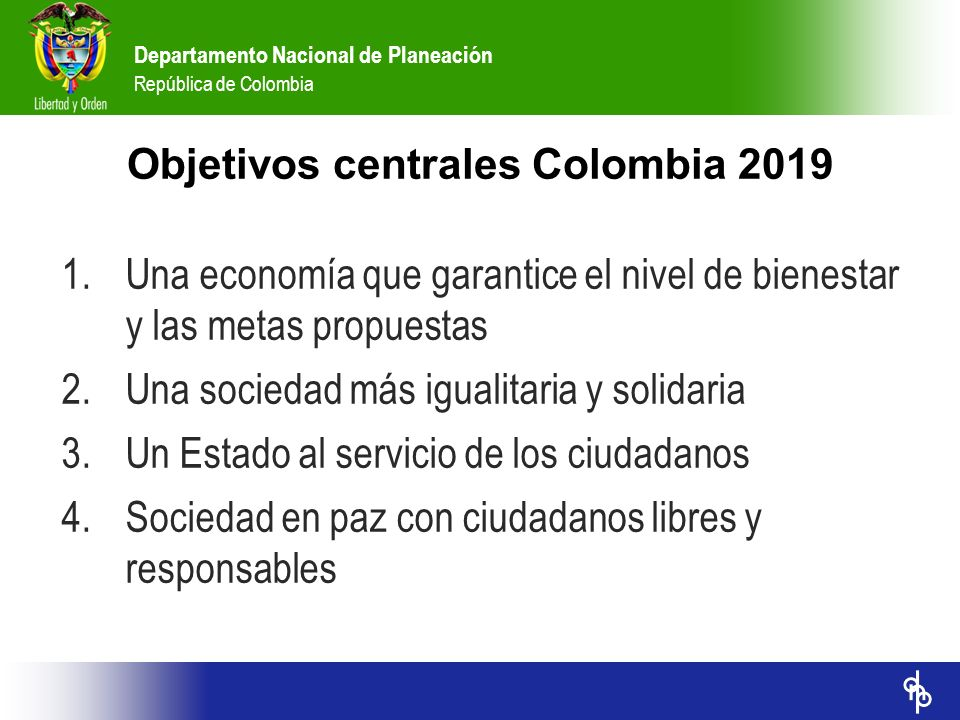 Objetivos centrales Colombia 2019