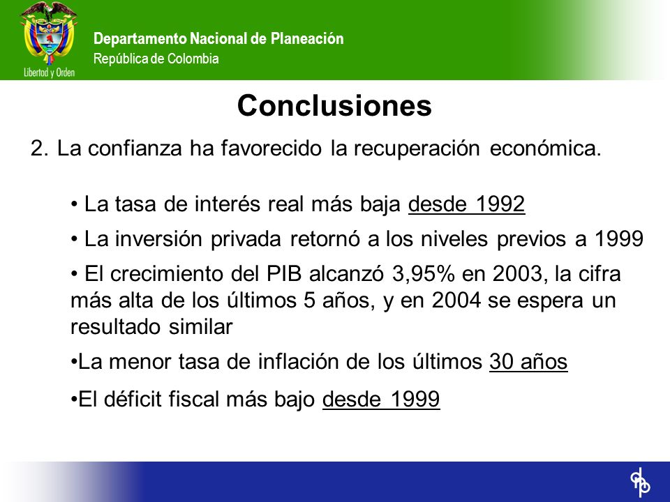 Conclusiones 2. La confianza ha favorecido la recuperación económica.