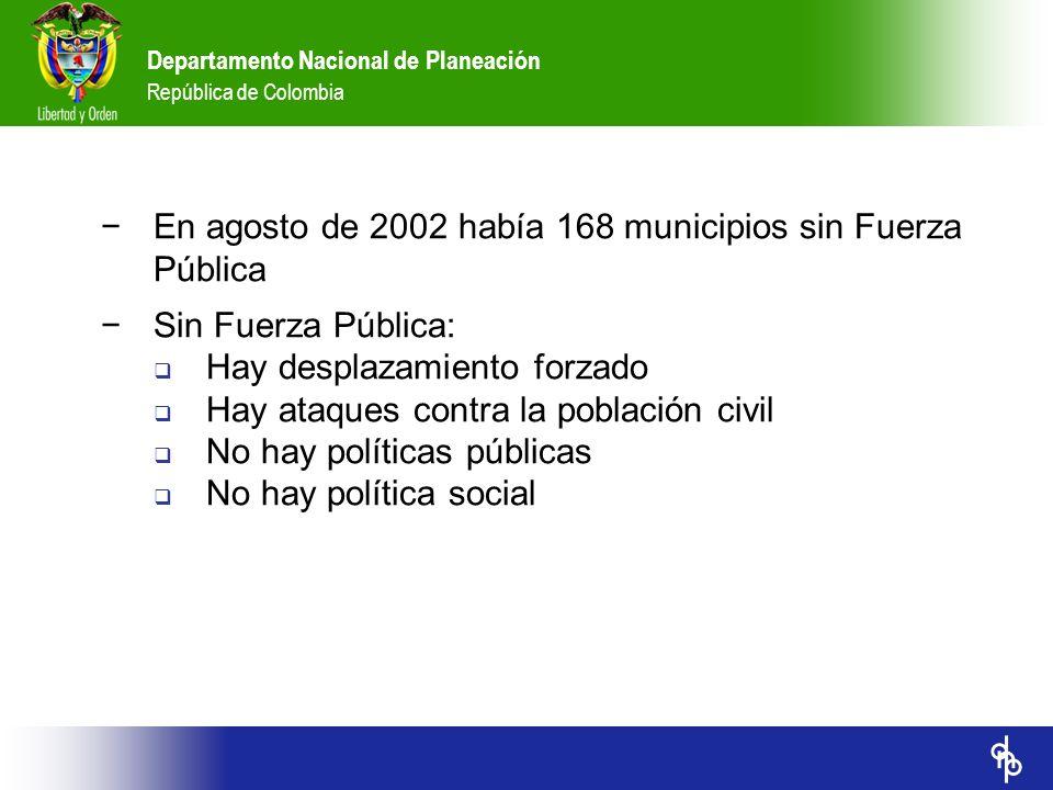 En agosto de 2002 había 168 municipios sin Fuerza Pública