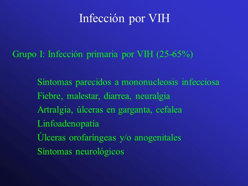 Infección por VIH Grupo I: Infección primaria por VIH (25-65%)