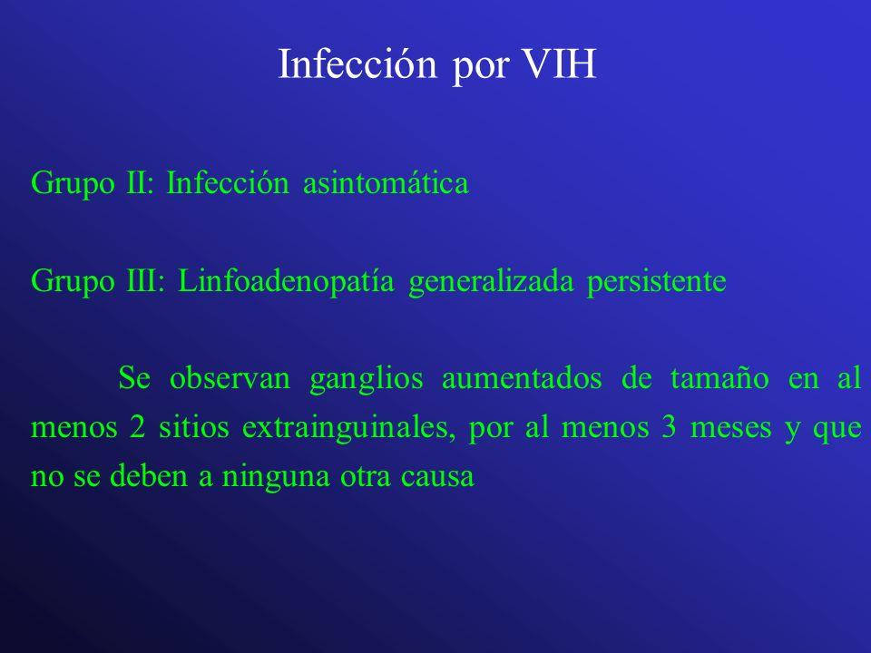 Infección por VIH Grupo II: Infección asintomática