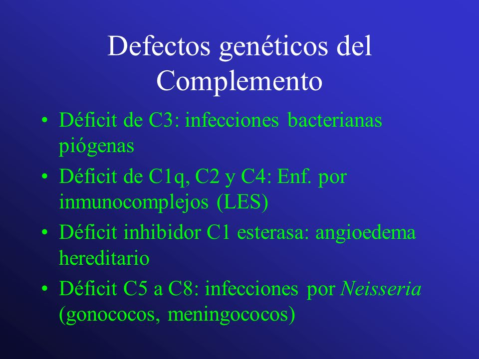 Defectos genéticos del Complemento