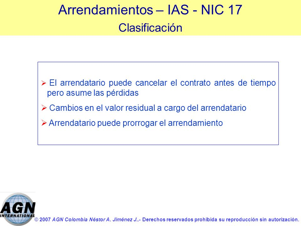 Arrendamientos – IAS - NIC 17