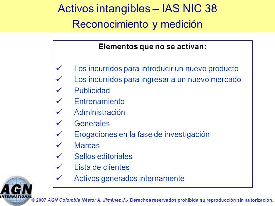 Elementos que no se activan: