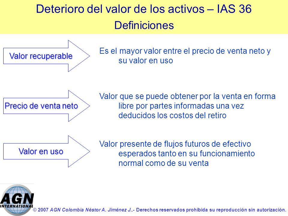 Deterioro del valor de los activos – IAS 36