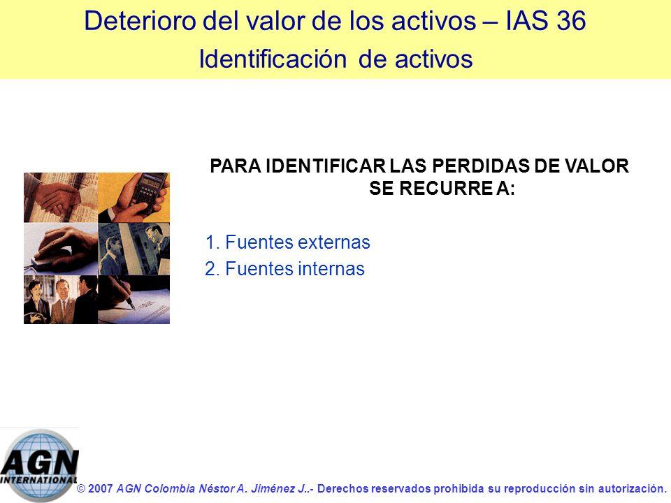 PARA IDENTIFICAR LAS PERDIDAS DE VALOR SE RECURRE A: