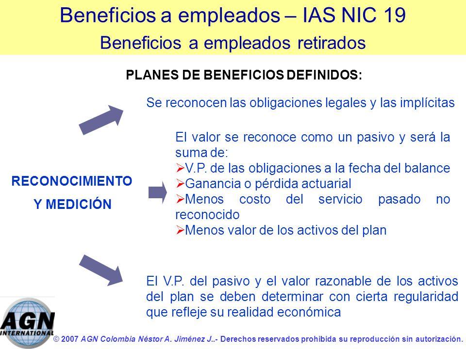 PLANES DE BENEFICIOS DEFINIDOS: