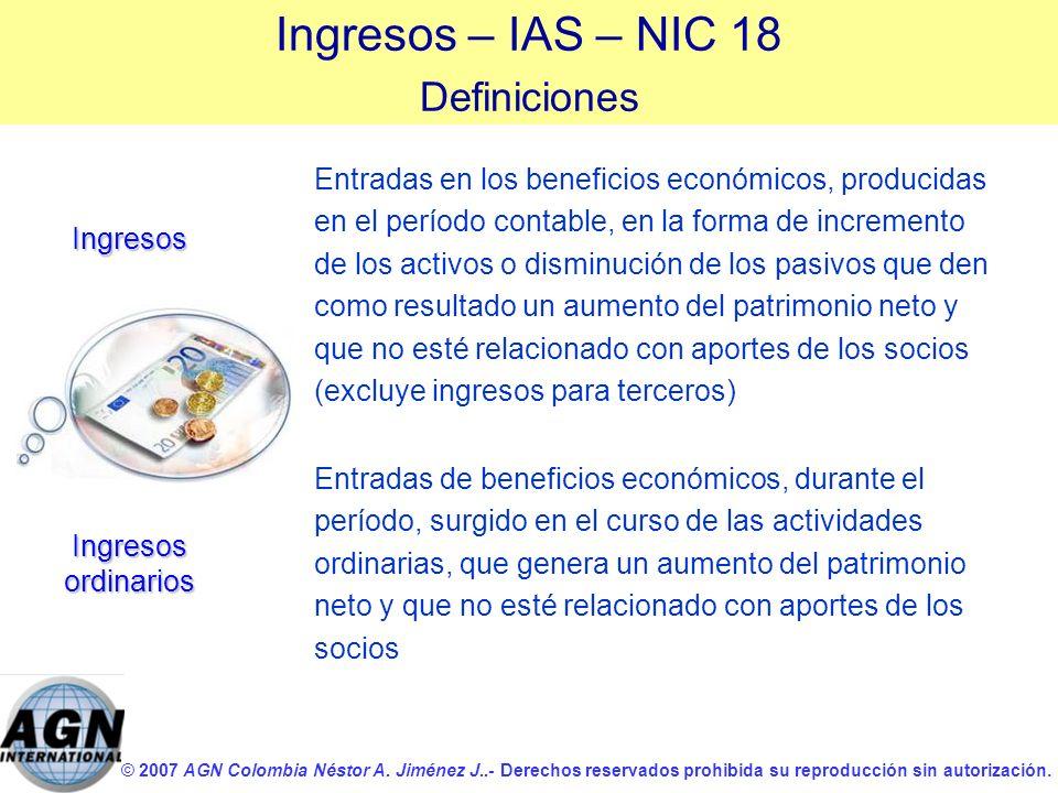 Ingresos – IAS – NIC 18 Definiciones