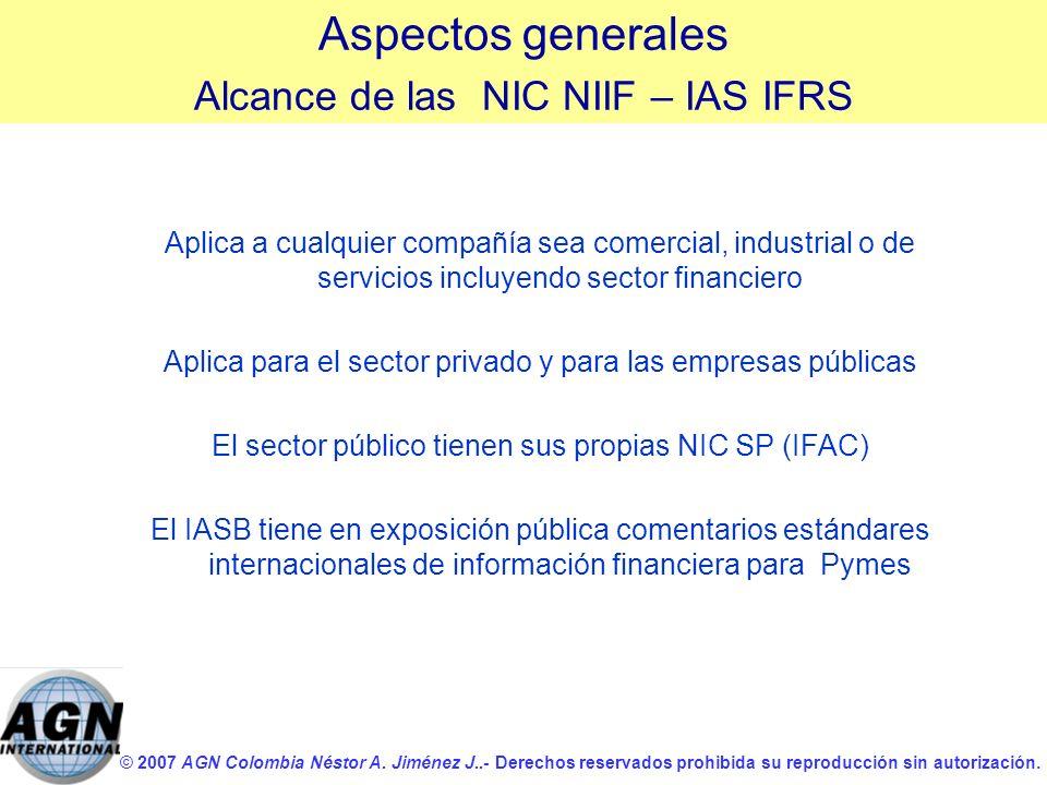 Aspectos generales Alcance de las NIC NIIF – IAS IFRS