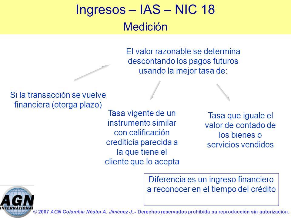 Ingresos – IAS – NIC 18 Medición
