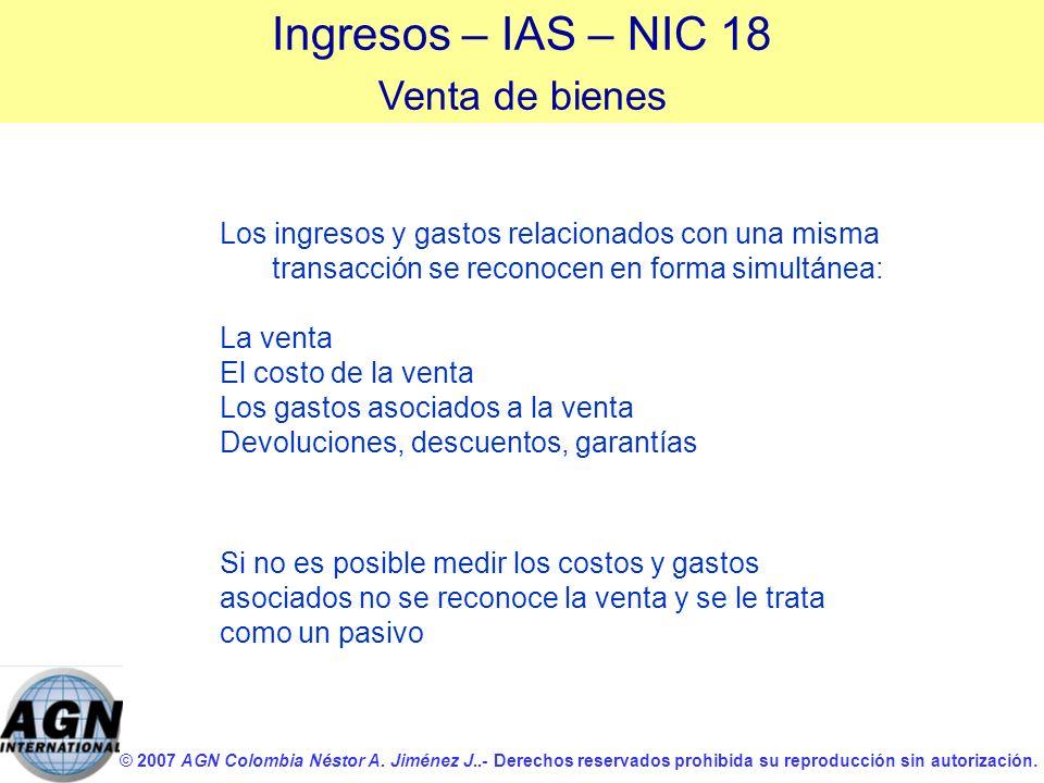 Ingresos – IAS – NIC 18 Venta de bienes