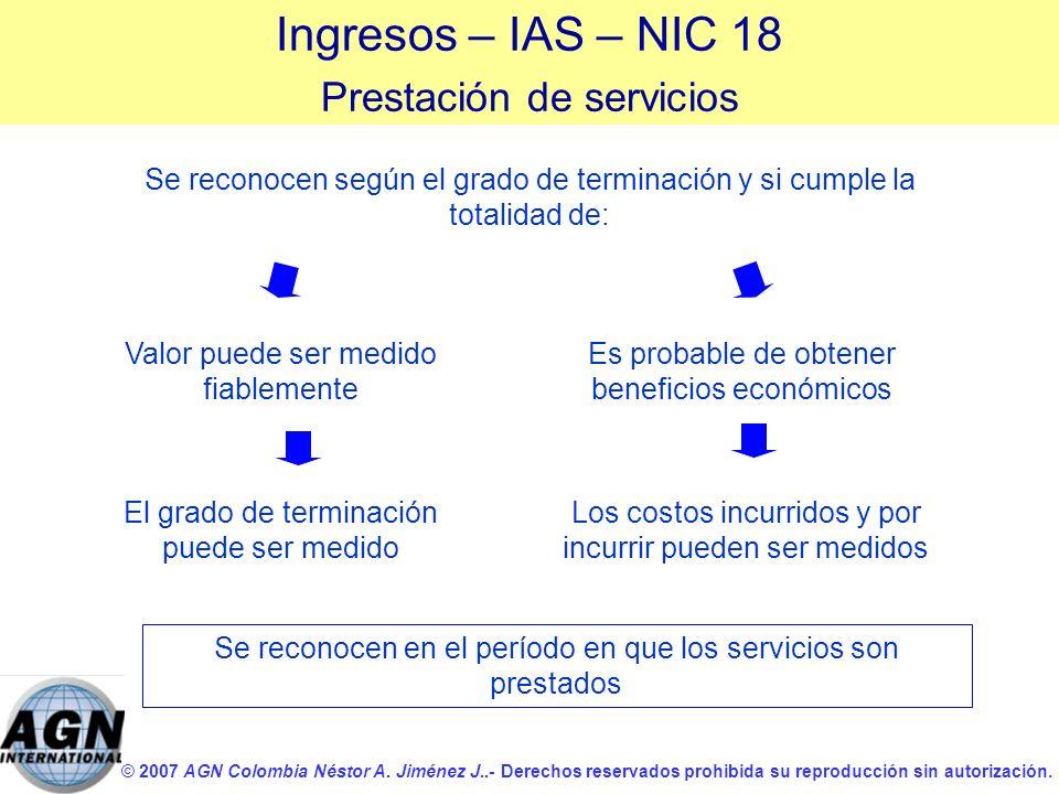 Ingresos – IAS – NIC 18 Prestación de servicios