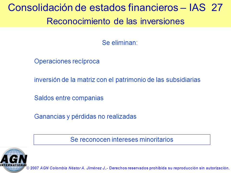 Consolidación de estados financieros – IAS 27