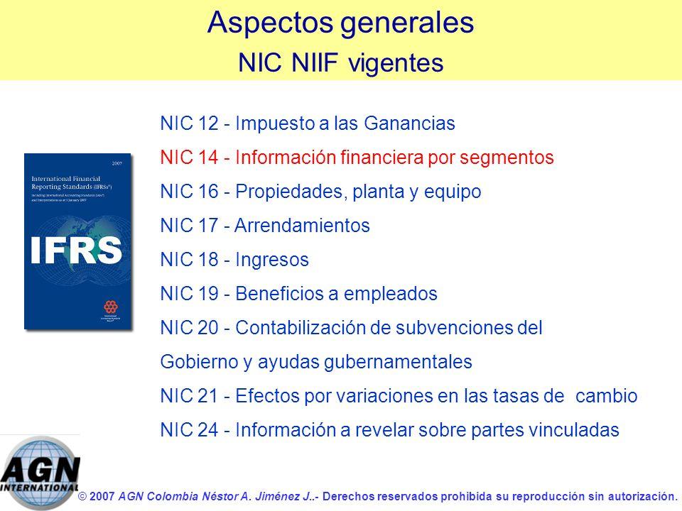 Aspectos generales NIC NIIF vigentes NIC 12 - Impuesto a las Ganancias