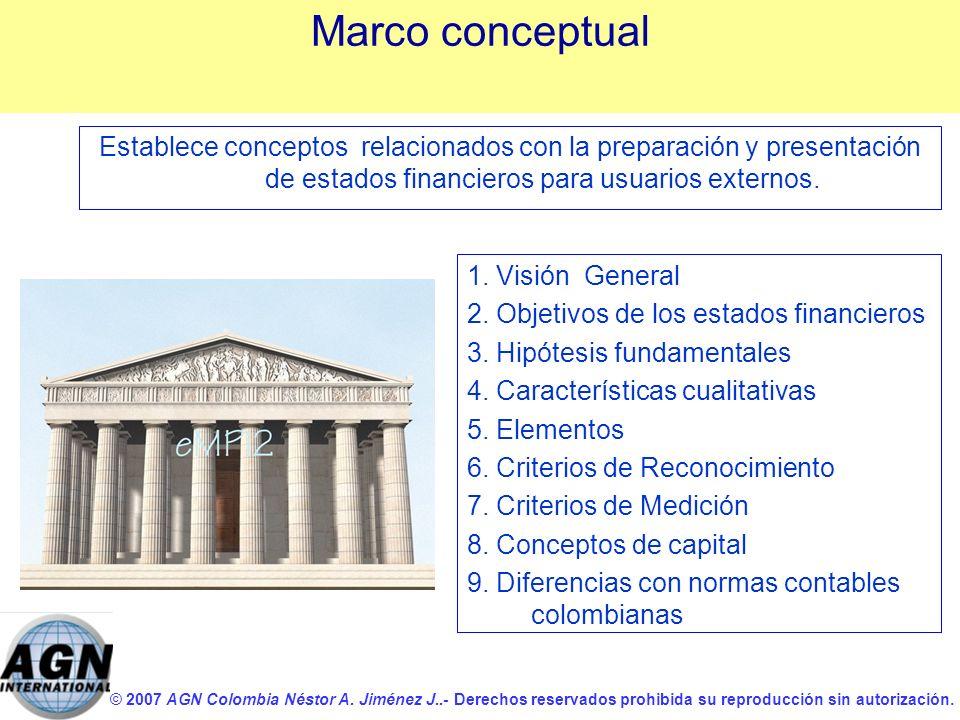Marco conceptual Establece conceptos relacionados con la preparación y presentación de estados financieros para usuarios externos.
