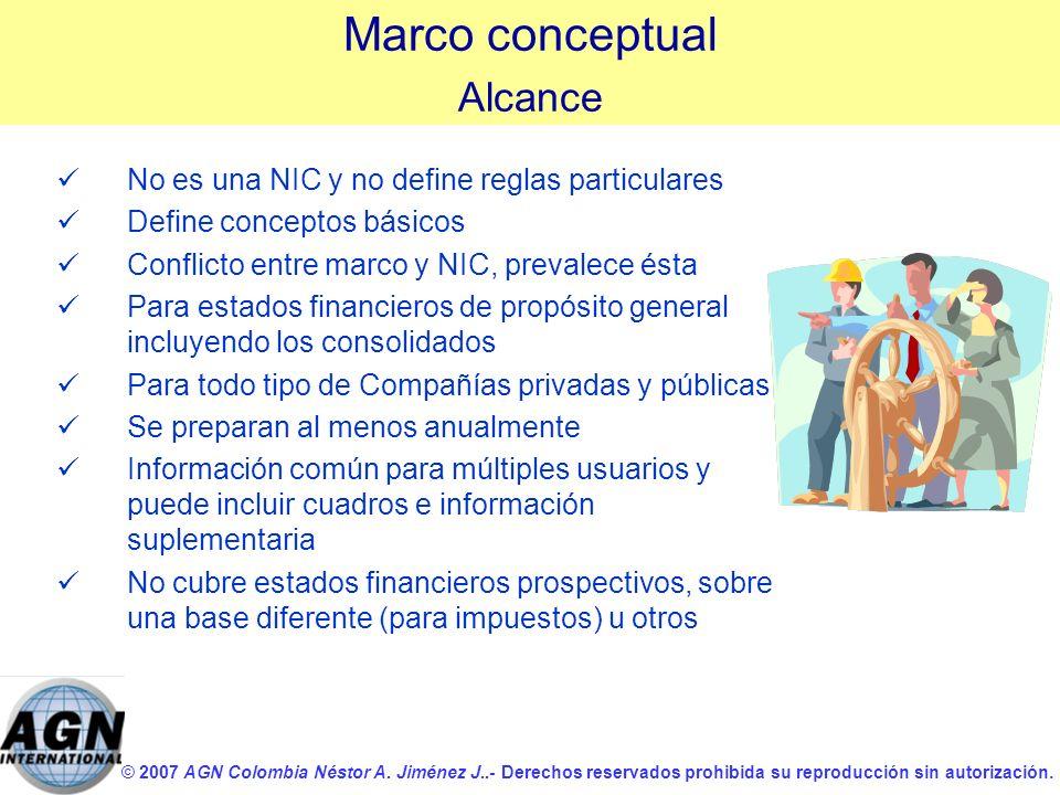 Marco conceptual Alcance No es una NIC y no define reglas particulares