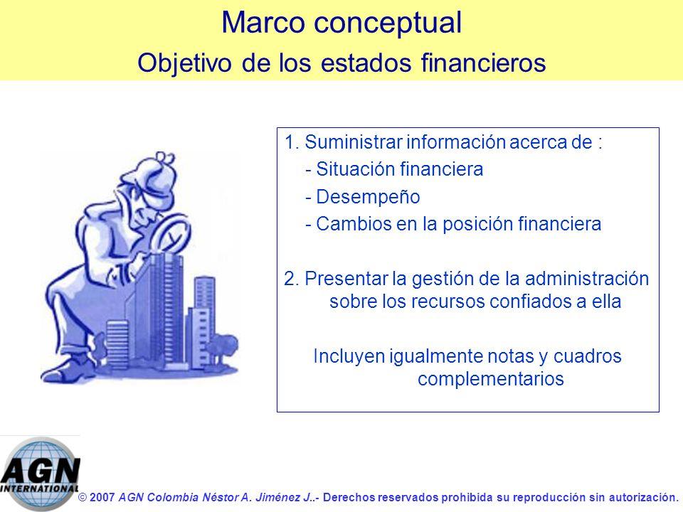 Marco conceptual Objetivo de los estados financieros